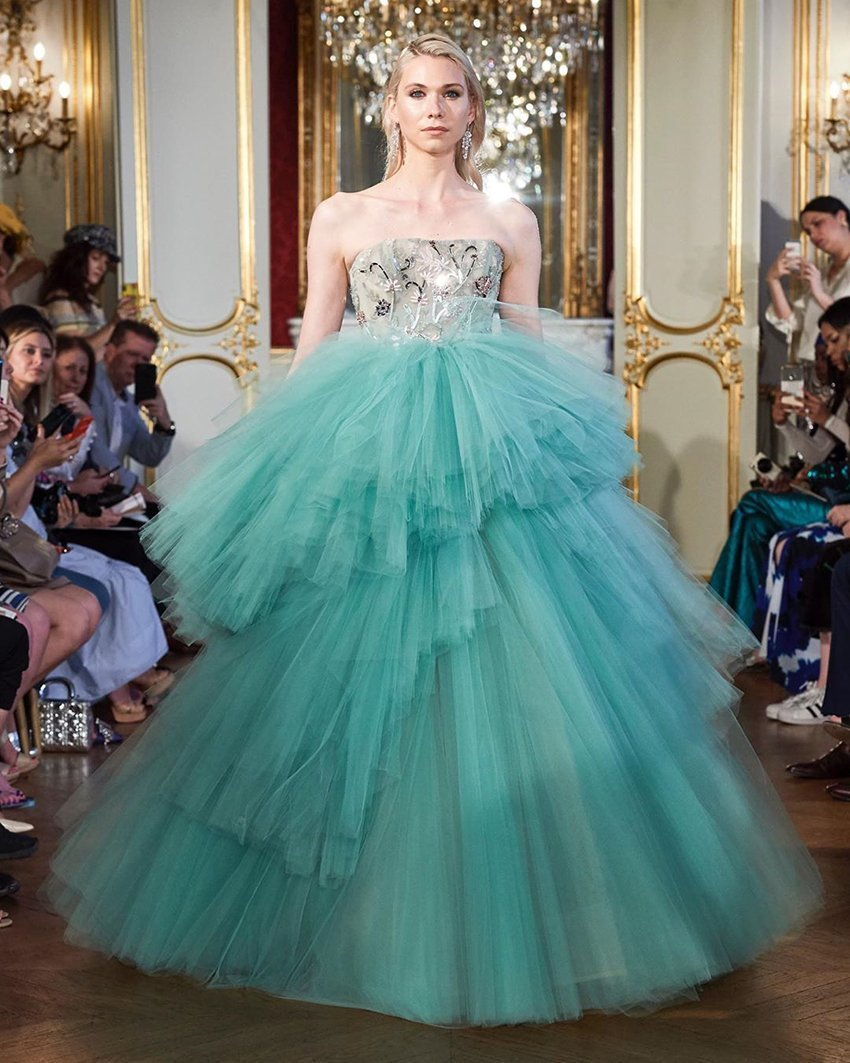 Steven Khalil designed gown in green tulle