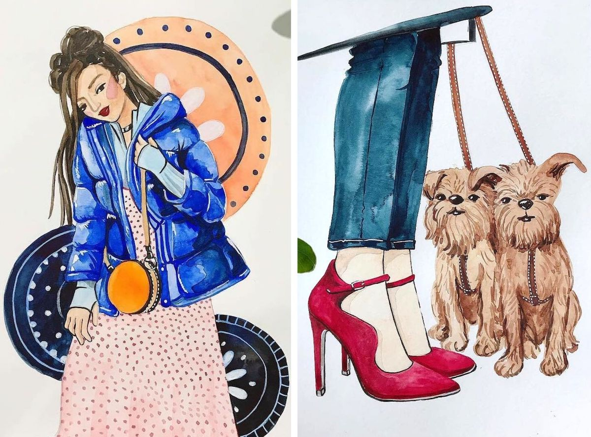 Fashion Illustrations of woman in coat and red shoes with dogs