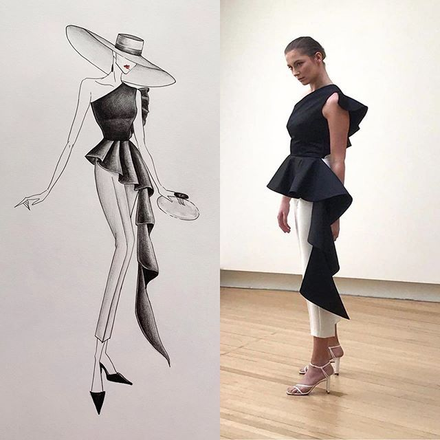 Emerging Designers Design details on a drawing and on a model