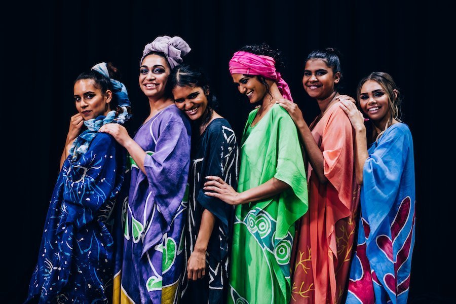 From the Cairns Indigenous Art Fair - Water is Sacred fashion showcase of Indigenous Fashion Designers