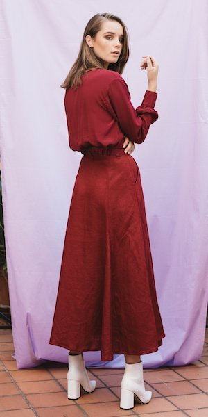 Carley Rose the Label Juniper Godet Skirt in Shiraz