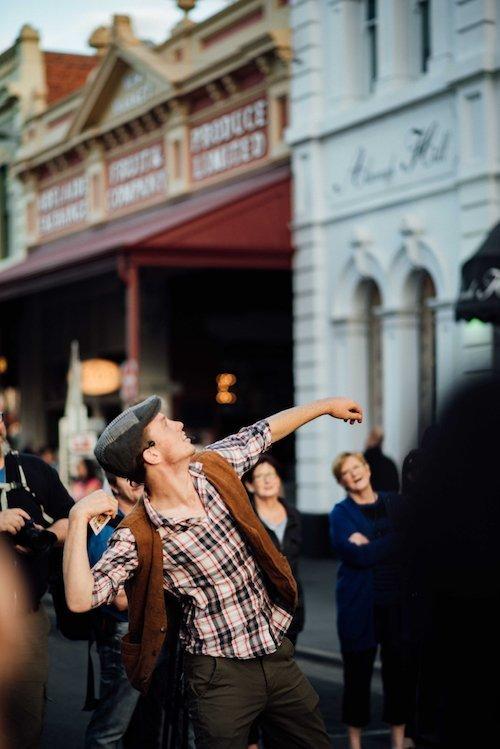 Fringe performer on Rundle St East, Adelaide