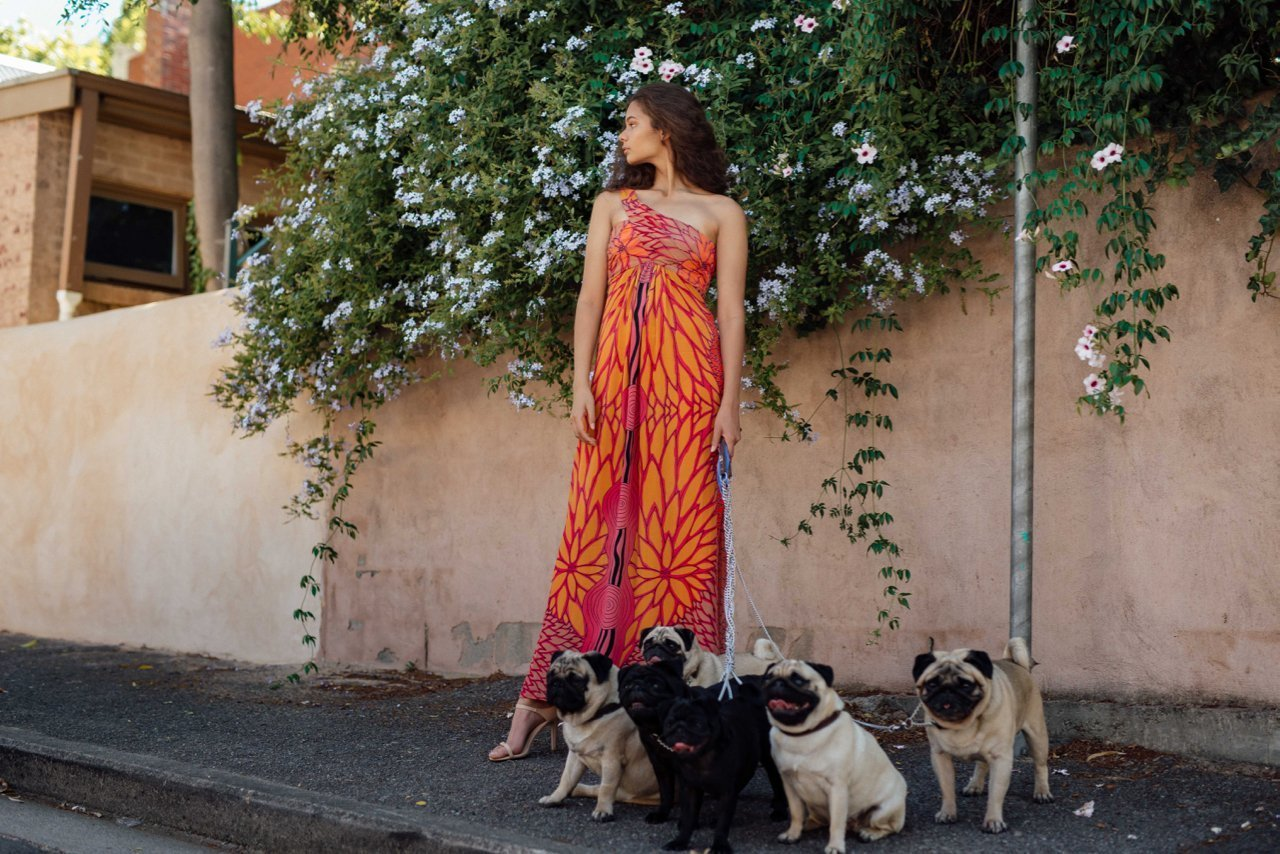 Chirriger dress modelled by Keana, Year of the dog shoot with pugs