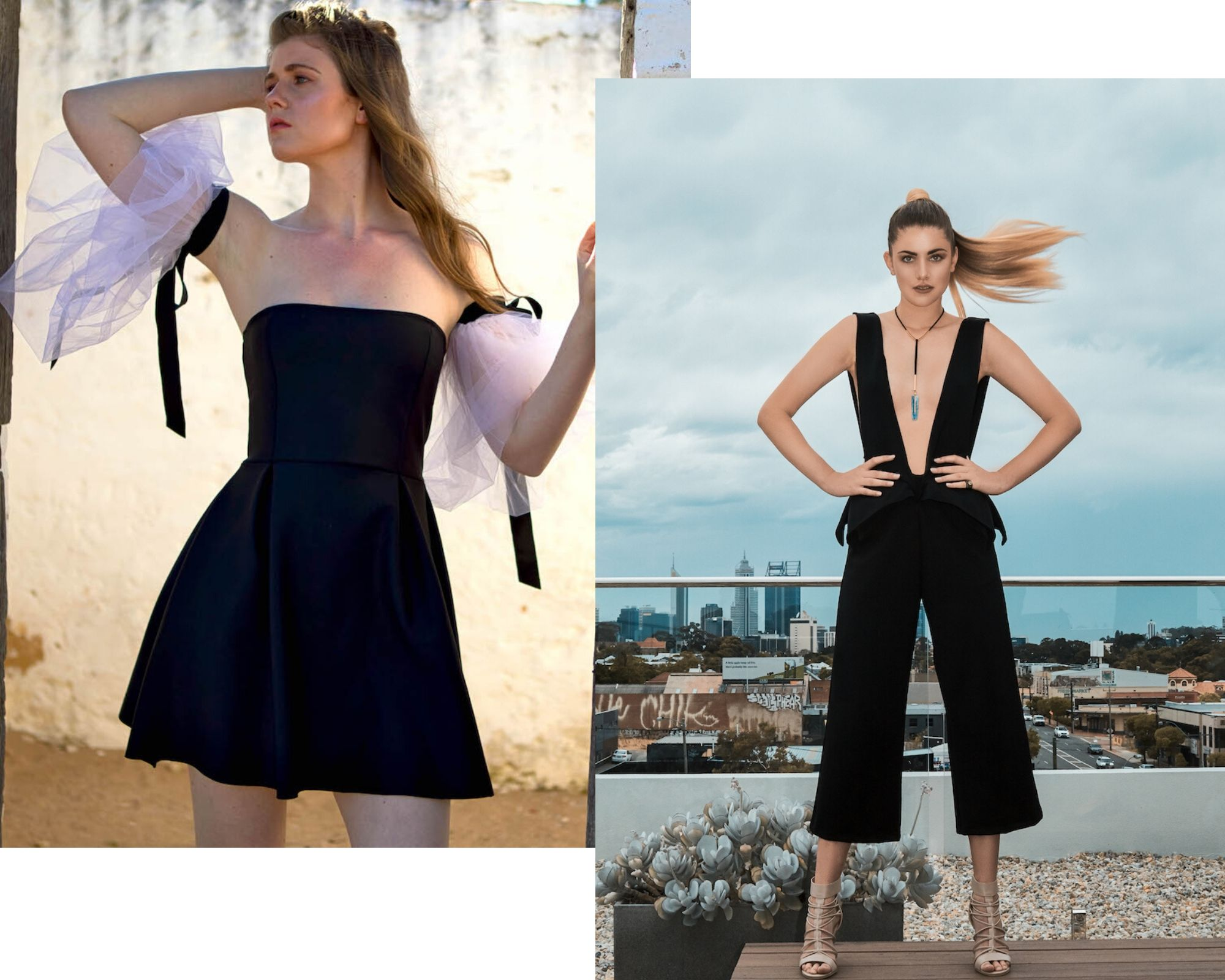 Two images of young women wearing D-tribe designs, one a short black cocktail dress with detachable white puffy sleeves in tule, and the other in a black jumpsuit with plunging neckline.