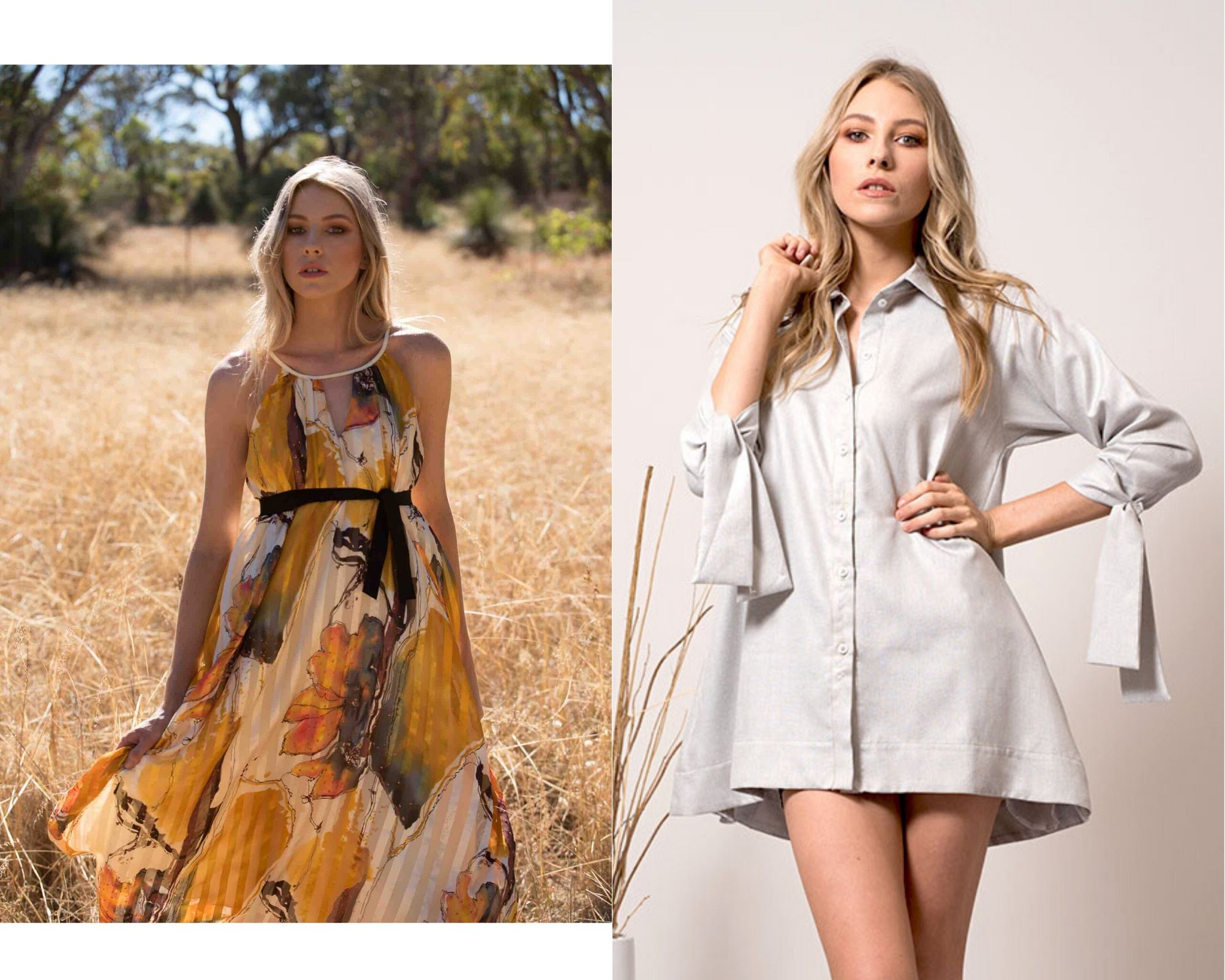 Girl in a yellow floral dress in a wheat field, together with a girl in a shirt style dress by D-Tribe Designs