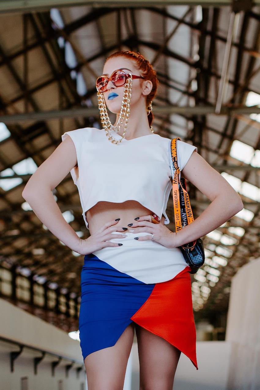 White crop top and geometric skirt designed by Daphne Wong from D-Tribe