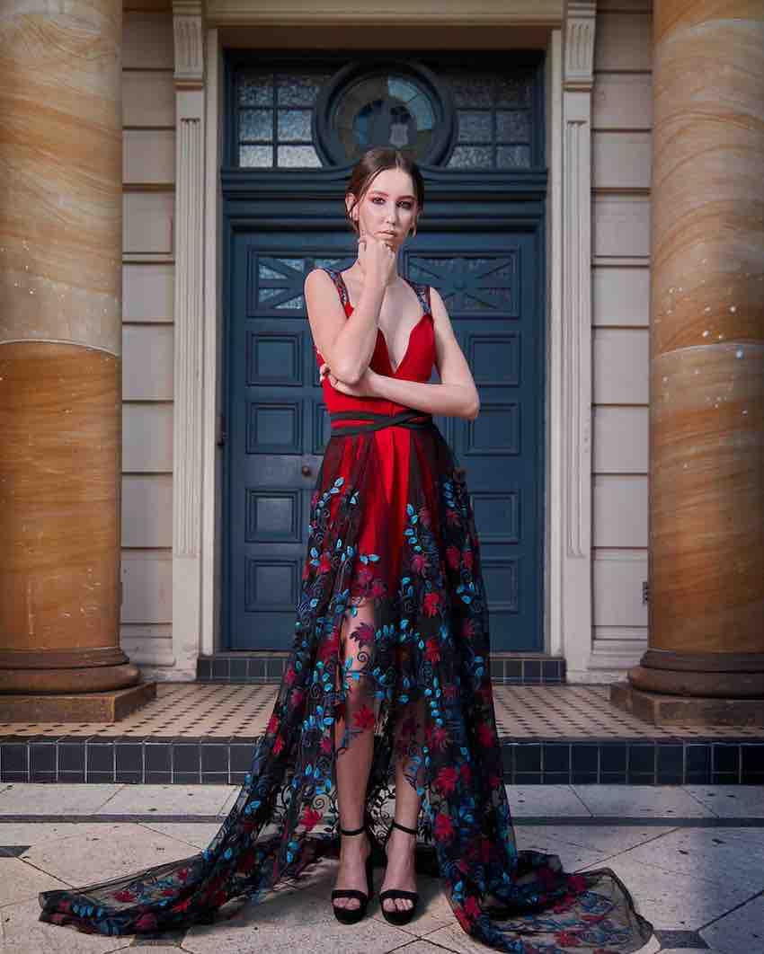 Red slip cocktail dress with embellished sheer wrap skirt
