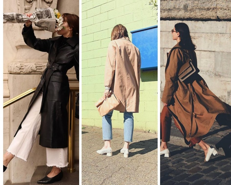 Mule heels look amazing with a trench coat