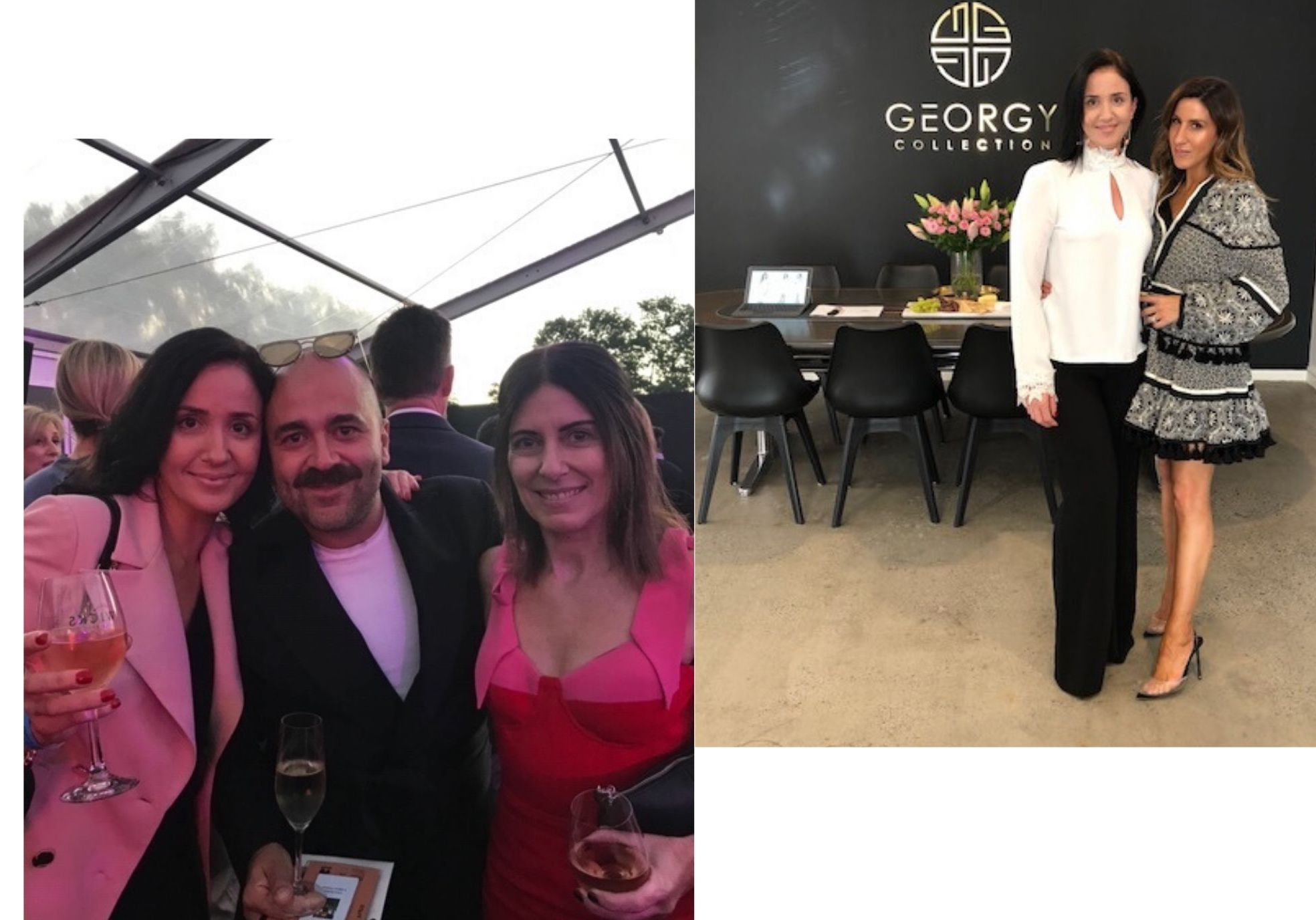 Designer Georgy Tsiavlis wearing one of her designs with Christ Kontos and team member Lisa, alson in Georgy