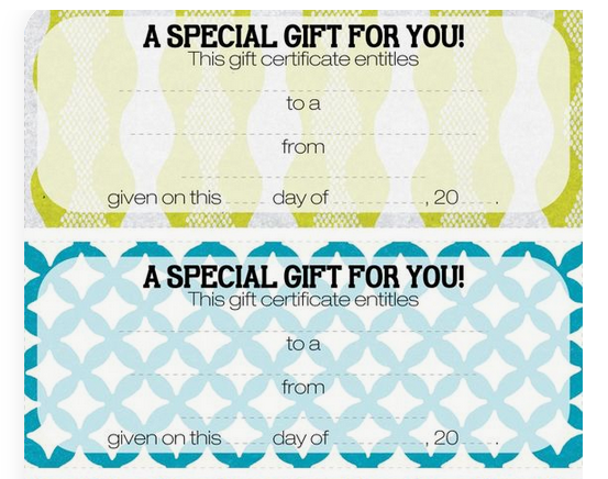 Best gift ideas - voucher to promise giving a service