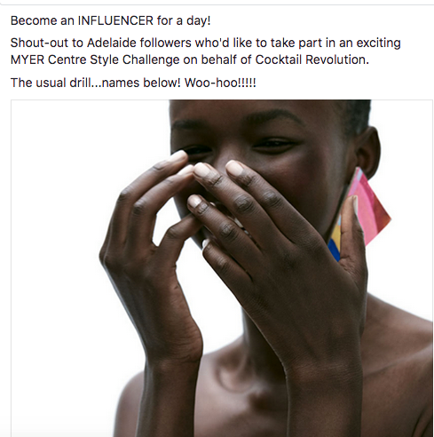 influencer for a day shout out on facebook