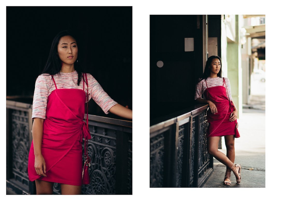Julia Noh poses in Leah Williams new range
