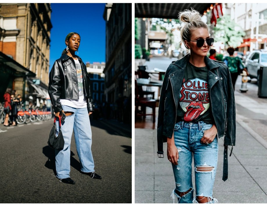 Leather Jackets & grunge work well for backstage fashion style