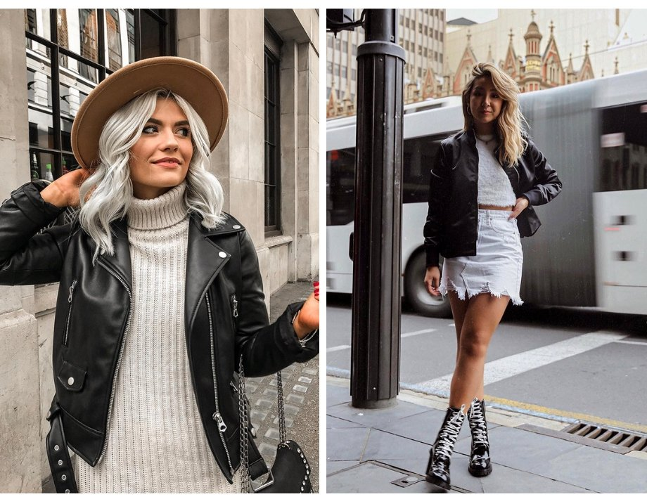 Fashion style in layers works well topped off with a leather jacket