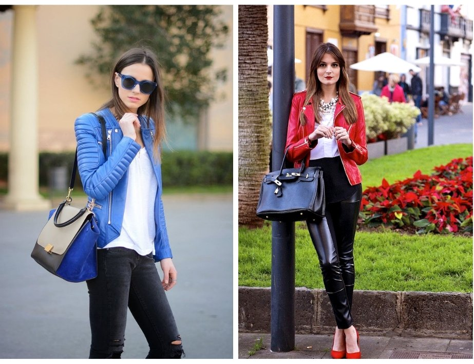 Leather jackets looks great in colours other than black!