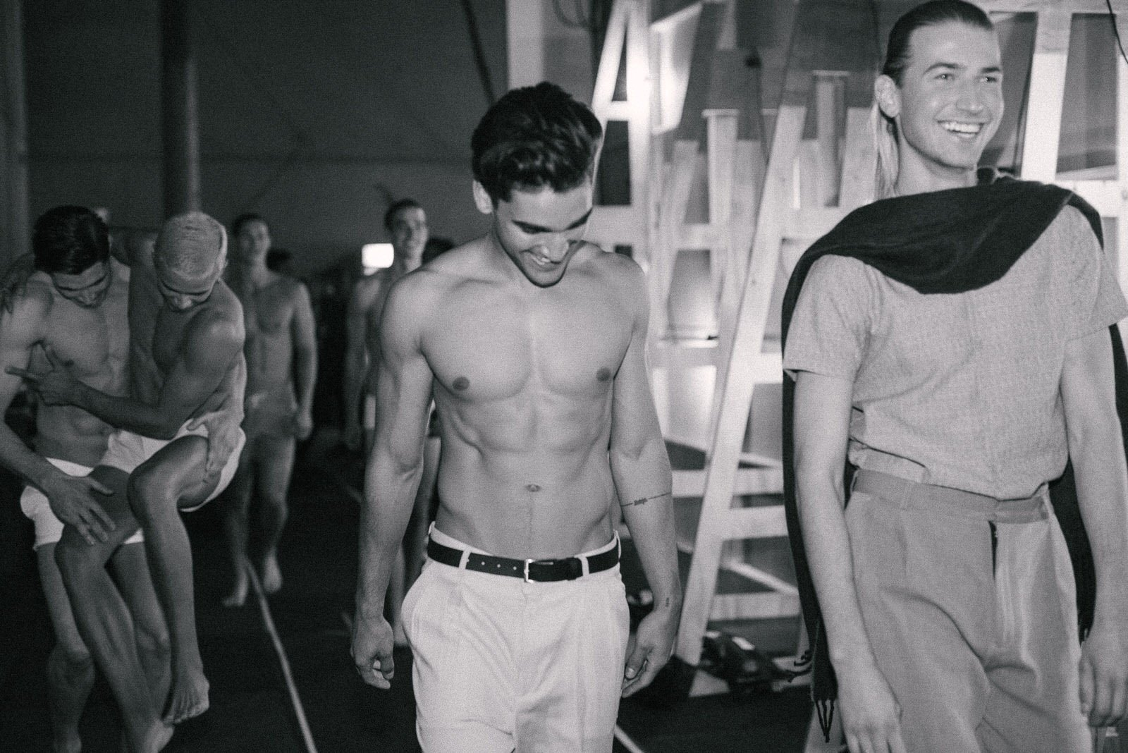 Back stage for the Justin Cassin runway at MBFWA