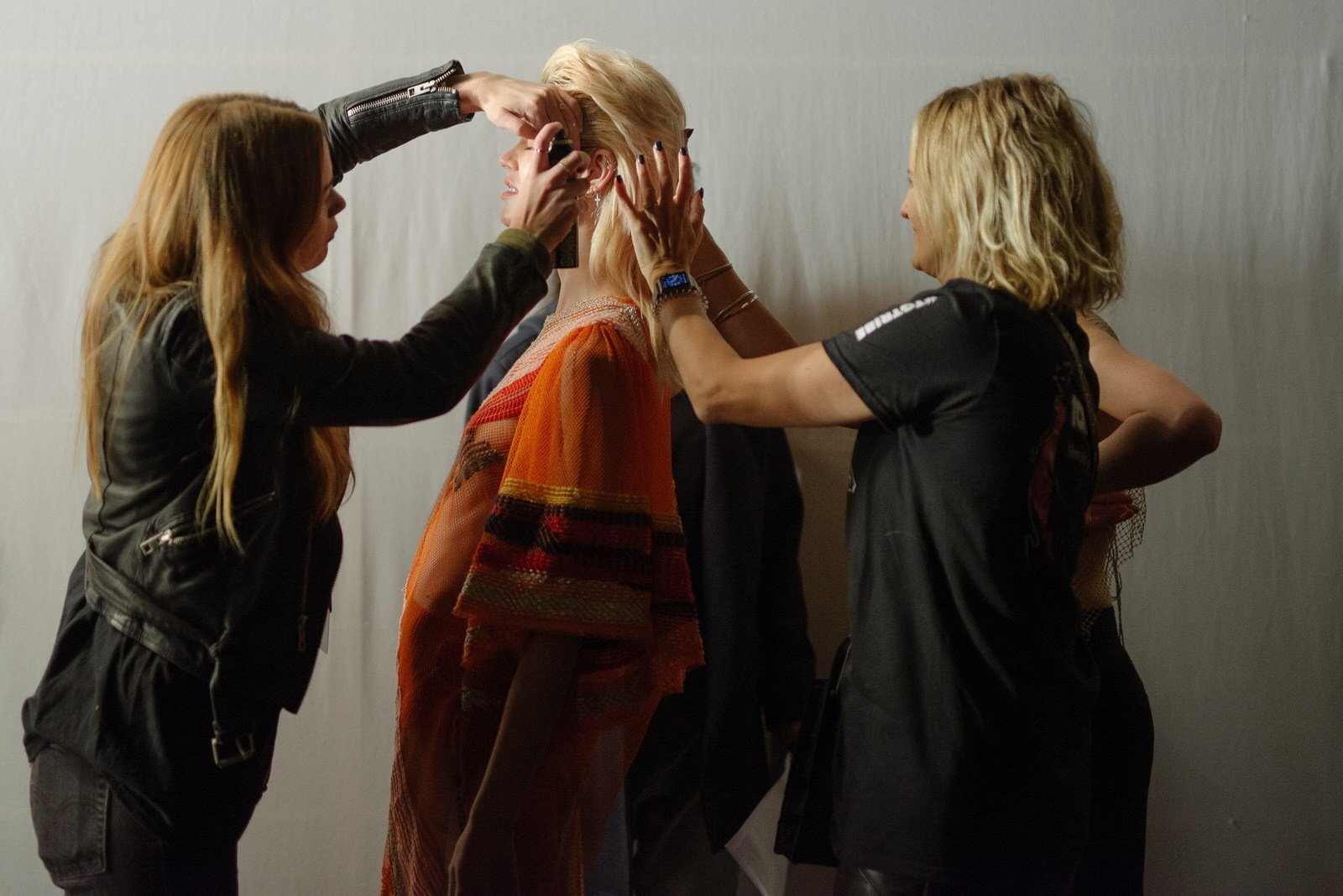 Back stage preparation for the Of Ro runway at MBFWA