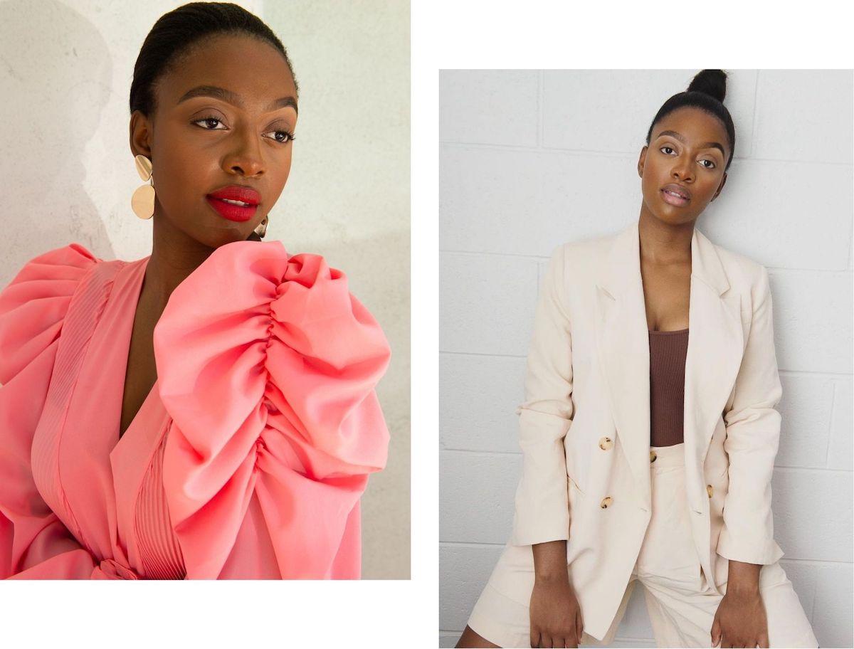 Black fashion model posing
