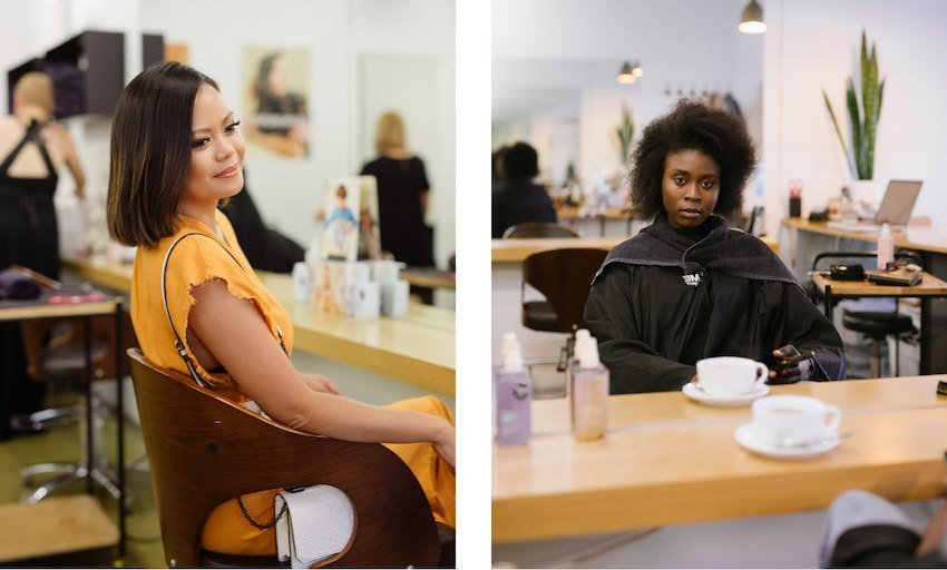 Aurora Banez and Rasha Kardo just before getting their new styles at Orenda Hair, Adelaide