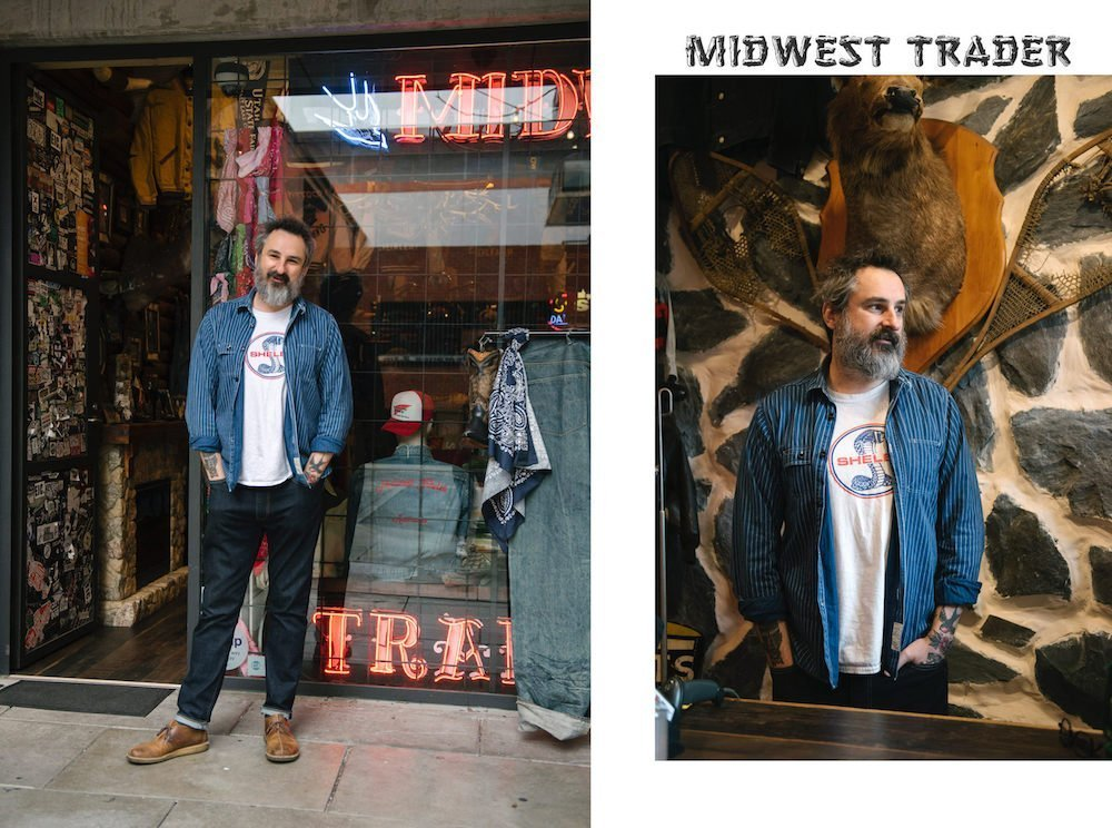 Jarrad Green out front of his iconic Adelaide fashion outlet Midwest Trader in Rundle Street East, showing only a part of the world's biggest Levis jeans