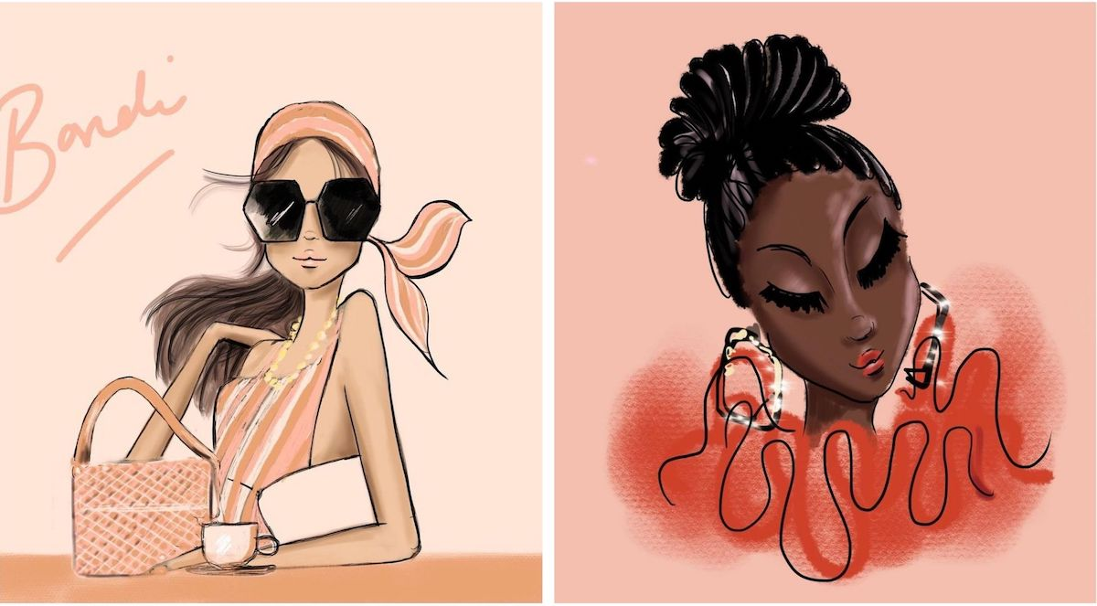 Fashion Illustrations of women by Sara Darby