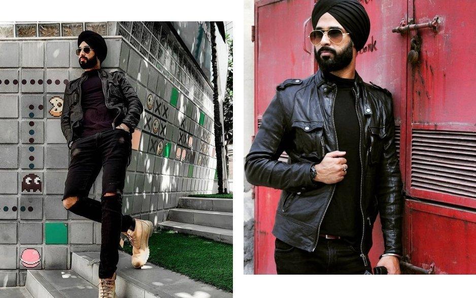black leather jacket worn with turban