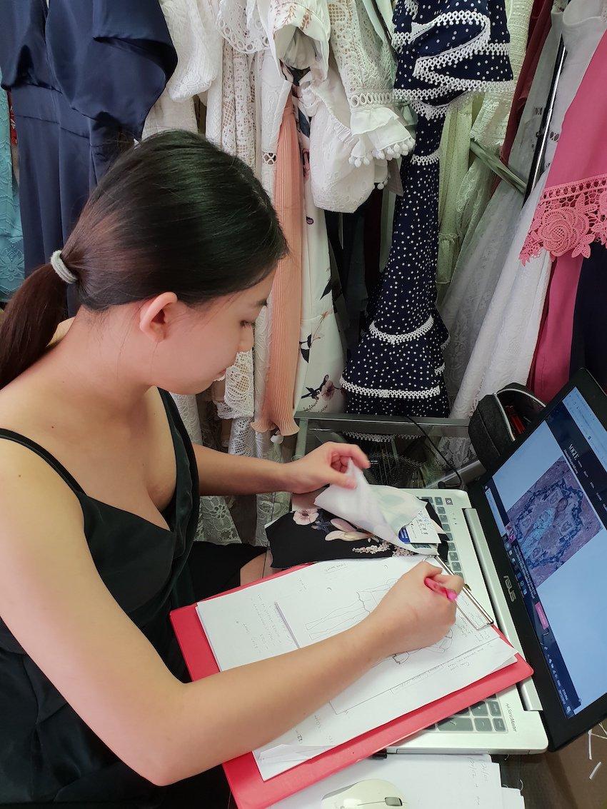 TAFE SA graduate Penny Lim at work at Two Sisters The Label