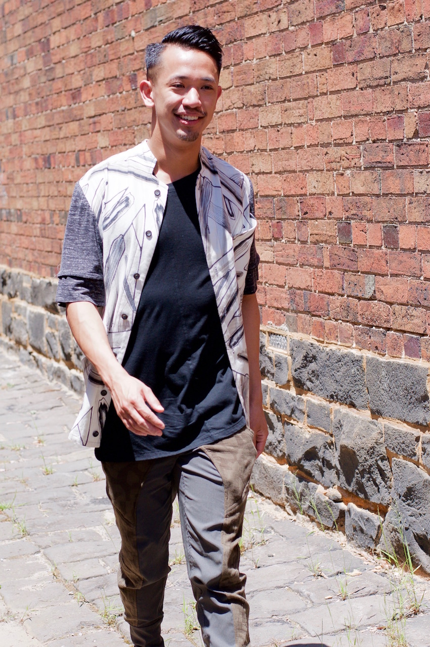 """Fitzroy: Jude Ng, Designer, laneway just off Johnson St. """"Gender neutral aesthetic is a key element in a modern and versatile wardrobe."""""""