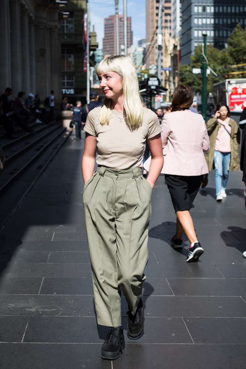 "VIC: Photo: Emily Hucker, Graphics, Melbourne CBD. ""I guess tomboy 90's-esque."" Zoe Kostopoulos"