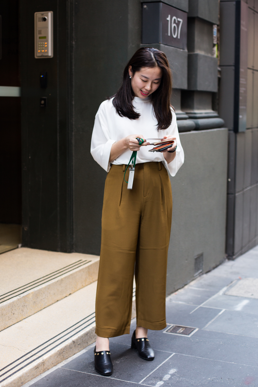 "VIC: Jenny Liang, Little Collins St, Melbourne. ""Classy and simple."" Photo: Zoe Kostopoulos"