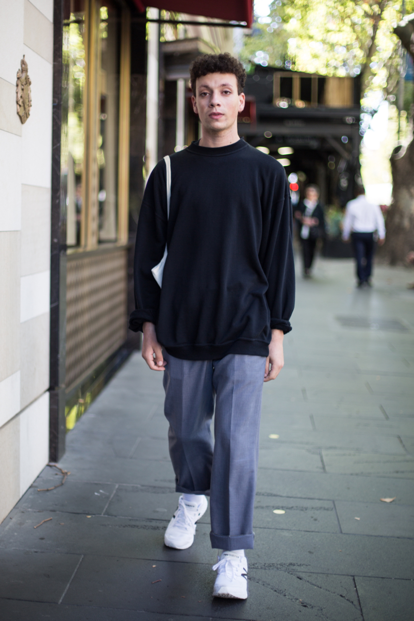 "VIC: Sayf Tabikh, Collins St, Melbourne. ""I prefer to shop second hand, sustainability is important to me.""Photo: Zoe Kostopoulos"