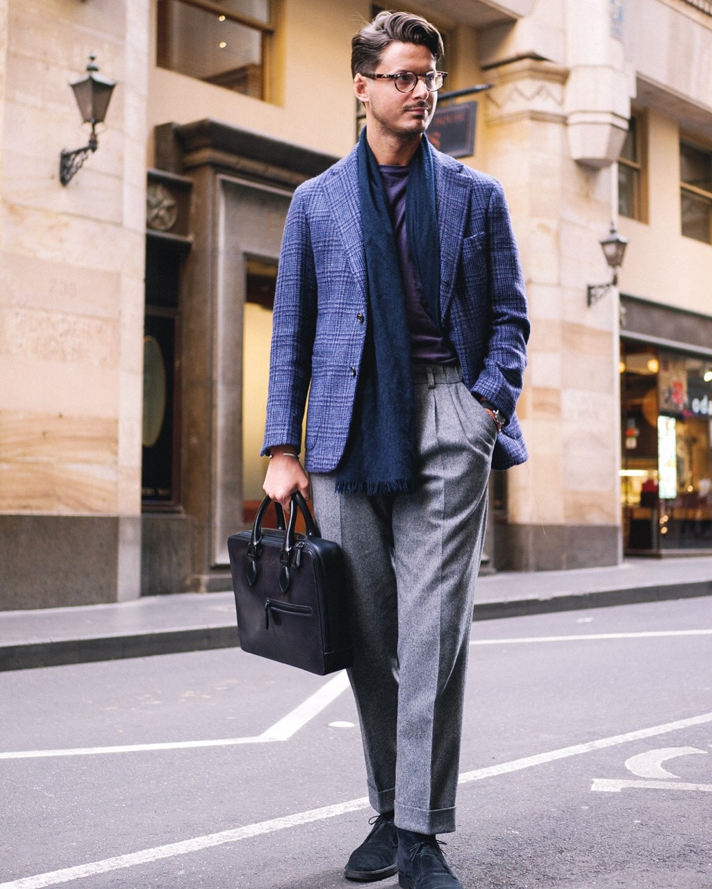 "Melbourne: Steve, Blogger & Retailer, ""Loving the Tweed. Paired with my grail bag"" Photo: Steve Calder."