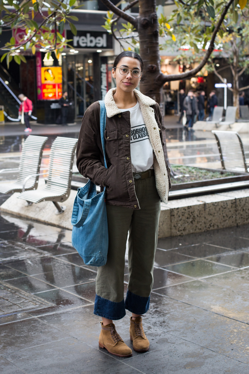 "VIC: Jackie Pettitt, student, Bourke St, Melbourne. ""I wear a lot of denim and workwear."" Photo: Zoe Kostopoulos"