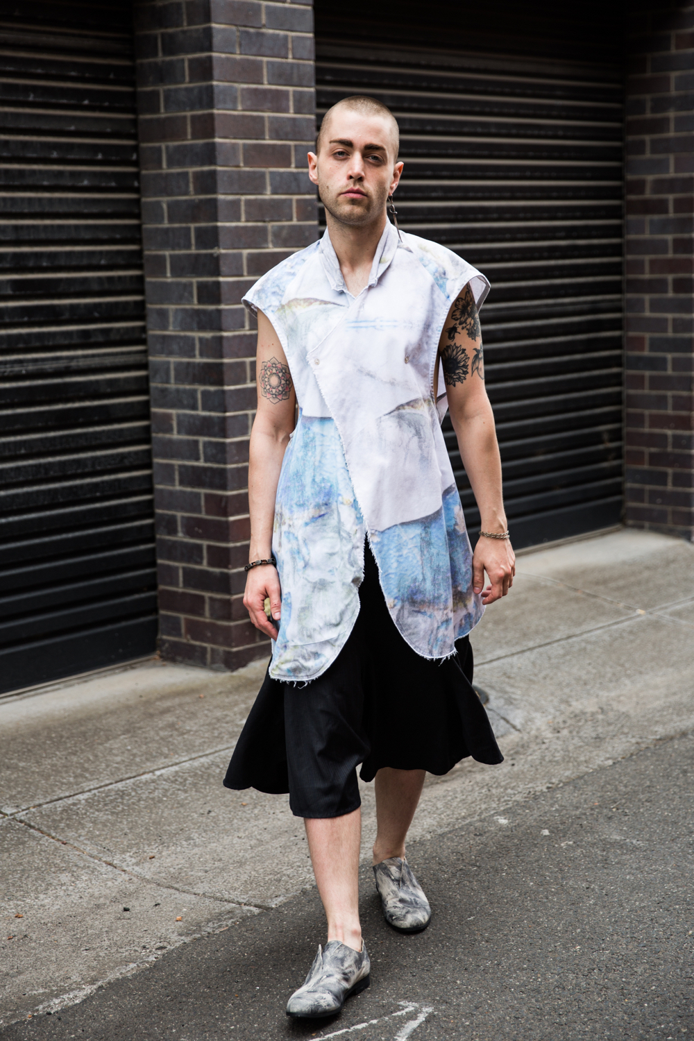 "VIC: Peter McDonald, Boyd St, Richmond. ""Happy wearing Vincent Li."" Photo: Zoe Kostopoulos"