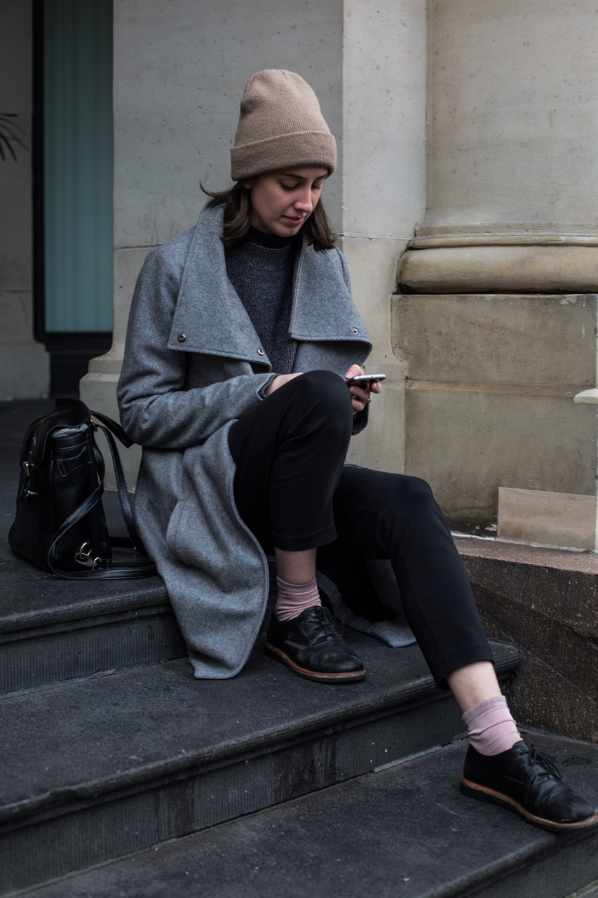 "VIC: Tahlia Landrigan, designer, Melbourne GPO. ""Simple tones."" Photo: Zoe Kostopoulos"