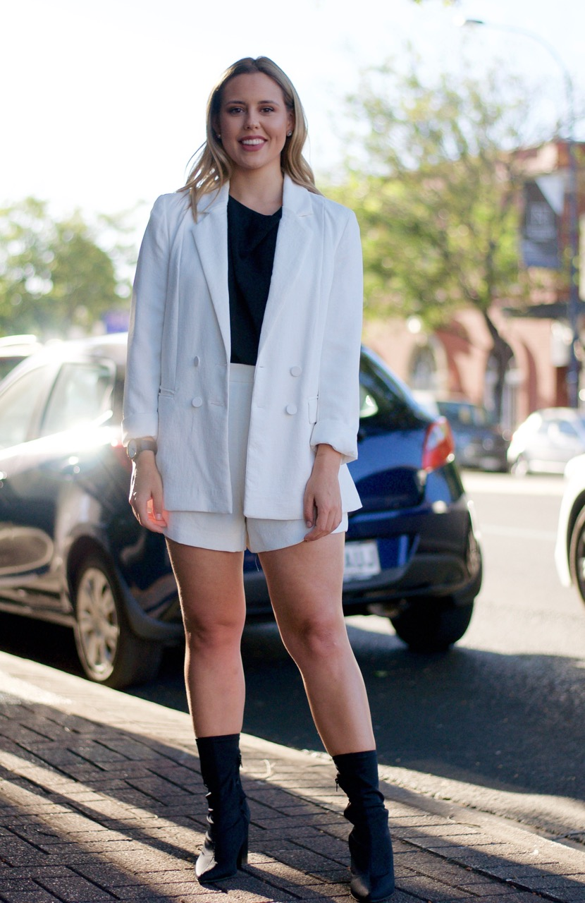 """SA: Elleni Penfold, Public Relations, The Parade, Norwood. """"""""Working in PR, I love a matching set. It's a classic option that's perfect to take from day to night."""""""