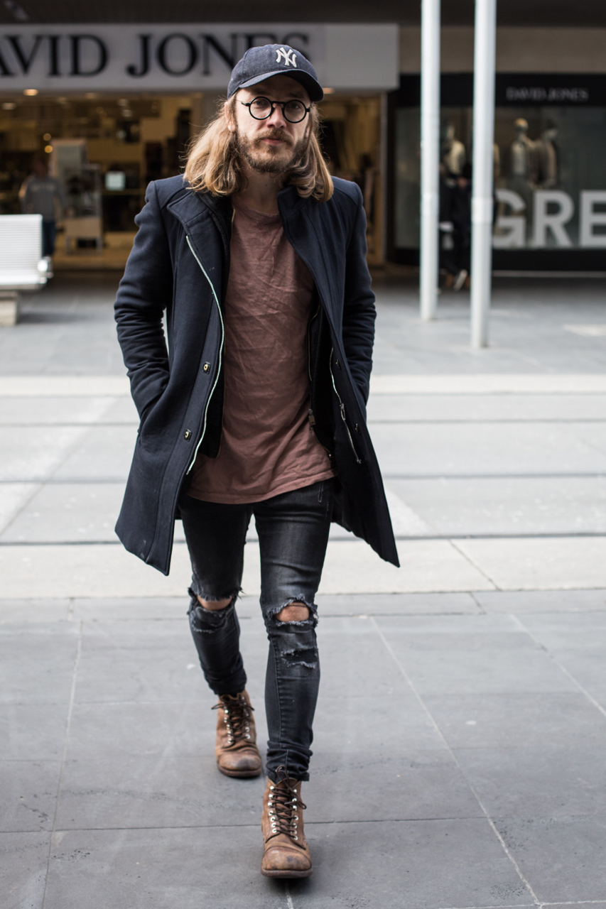 "VIC: Ky House, designer, Bourke St Mall. ""High end homeless is the new black."" Photo: Zoe Kostopoulos"