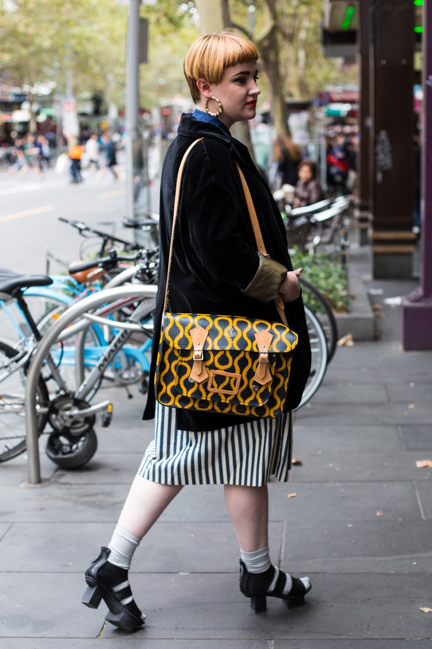 "VIC: Sabina Myers, designer, Swanston St. ""It's nice to be tall for a change."" Photo: Zoe Kostopoulos"