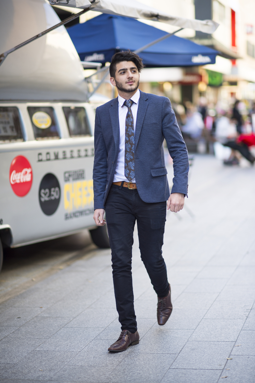 """SA: Simon, Retail - YD, snapped in Rundle Mall. """"Dress it up!"""" Photo: Eli Francis"""