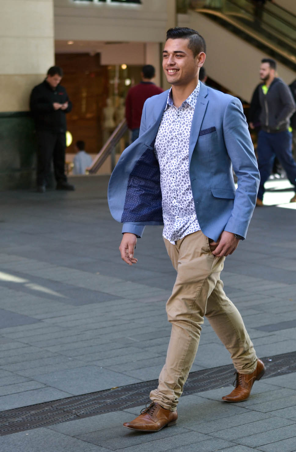 """NSW: Tyler Ransfield, sales, Pitt St. """"I'd describe my style as 'class-meets-swag'."""" Photo: Alice Scriberras"""