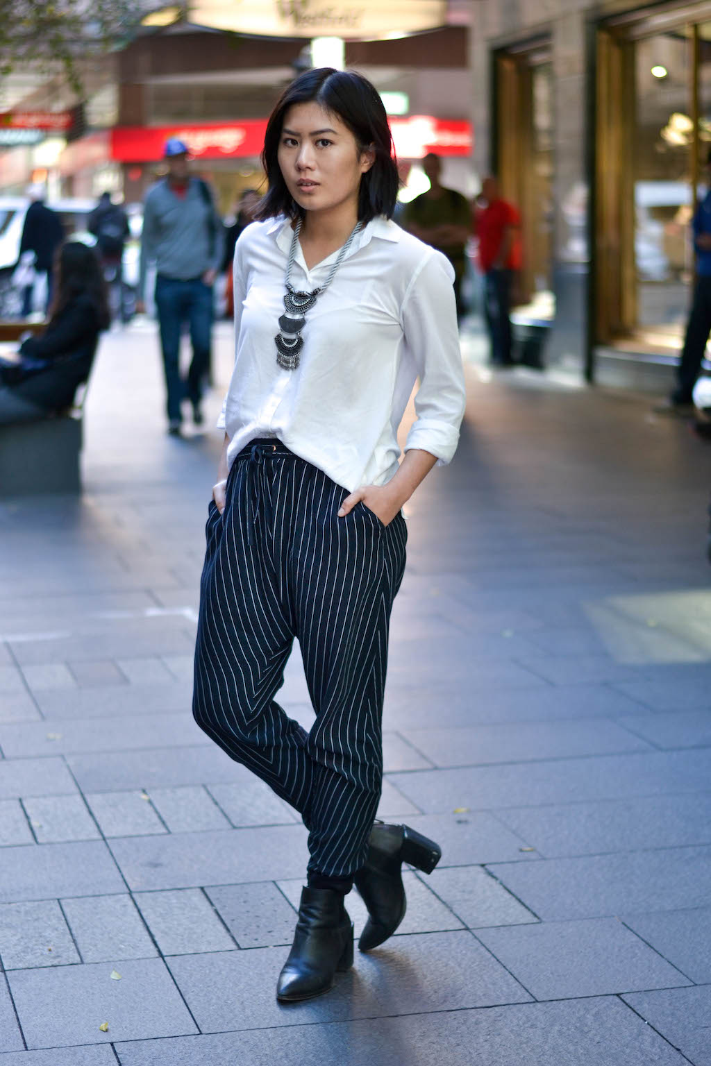"""NSW: Lisa Van, communications student. Her style: """"Moody, androgynous, and lots of pants!"""" Photo: Alice Scriberras"""