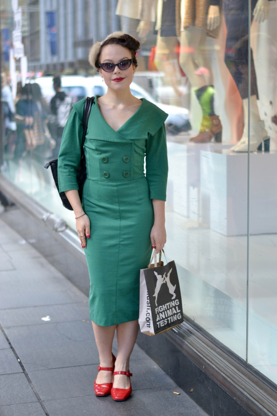 "NSW: Sarah Battle_Darling De Vine, event manager,George St, Sydney. ""My style's 1950's femme fatale."" Photo: alice Scriberras"