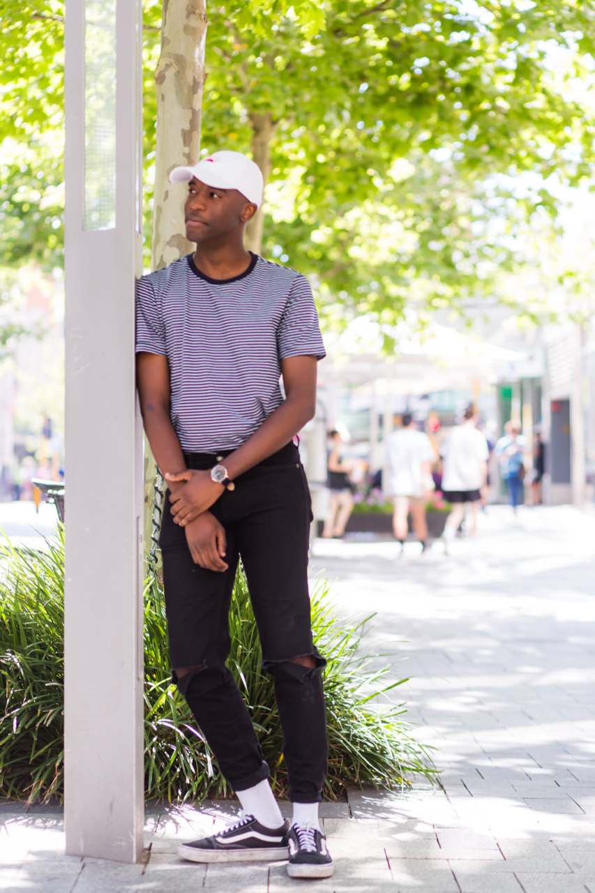 "WA: Daliso Tembo, Student, Murray St, Perth. ""Avant Garde fresh prince."" Photo: Alain Quah"