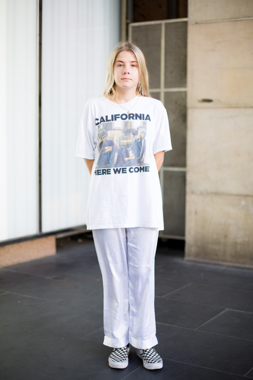 "Street Style Australia - VIC: Erin Scapin, Sales Assistant, GPO, Melbourne. ""Simple."" Photo: Zoe Kostopoulos"