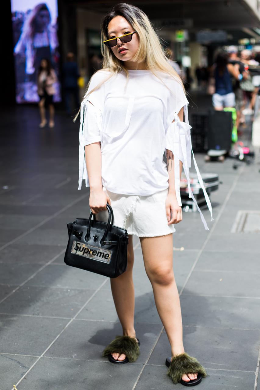 VIC: Eva Chow, Fashion Design Student, Bourke St, Melbourne. Photo: Zoe Kostopoulos