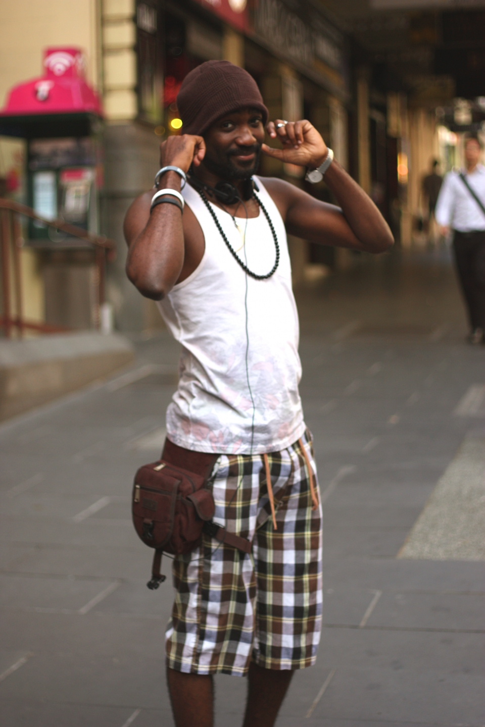 "Vic: Jean Jacques Musa, engineer, Melbourne. ""My personal style could be funny and weird, but tank top addicted and very cool."" Photo: Mary Tham"