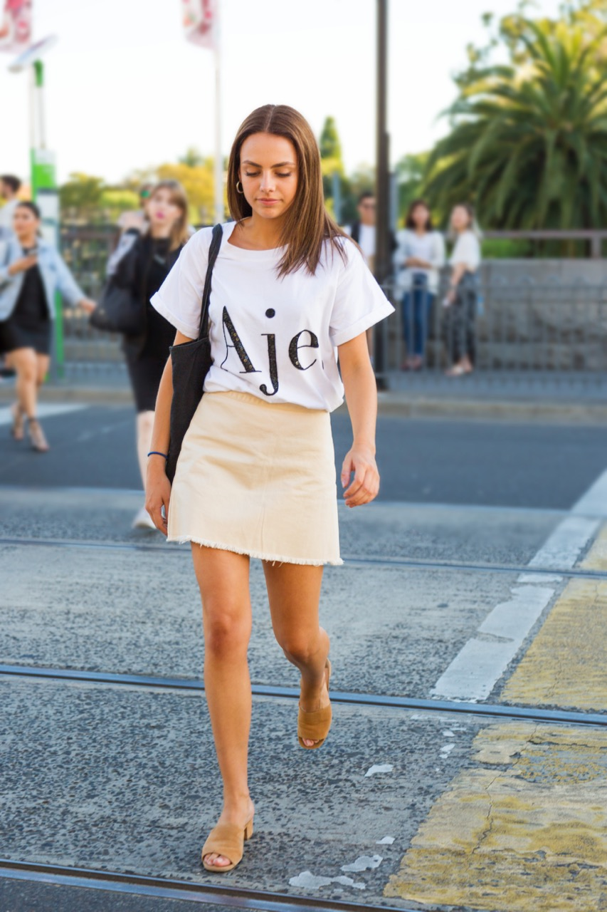 "VIC: Christina Bell, Toorak Rd. ""I just take style inspiration from Australian freelance models on Instagram and general Australian street style."" Photo: Libby Matson"