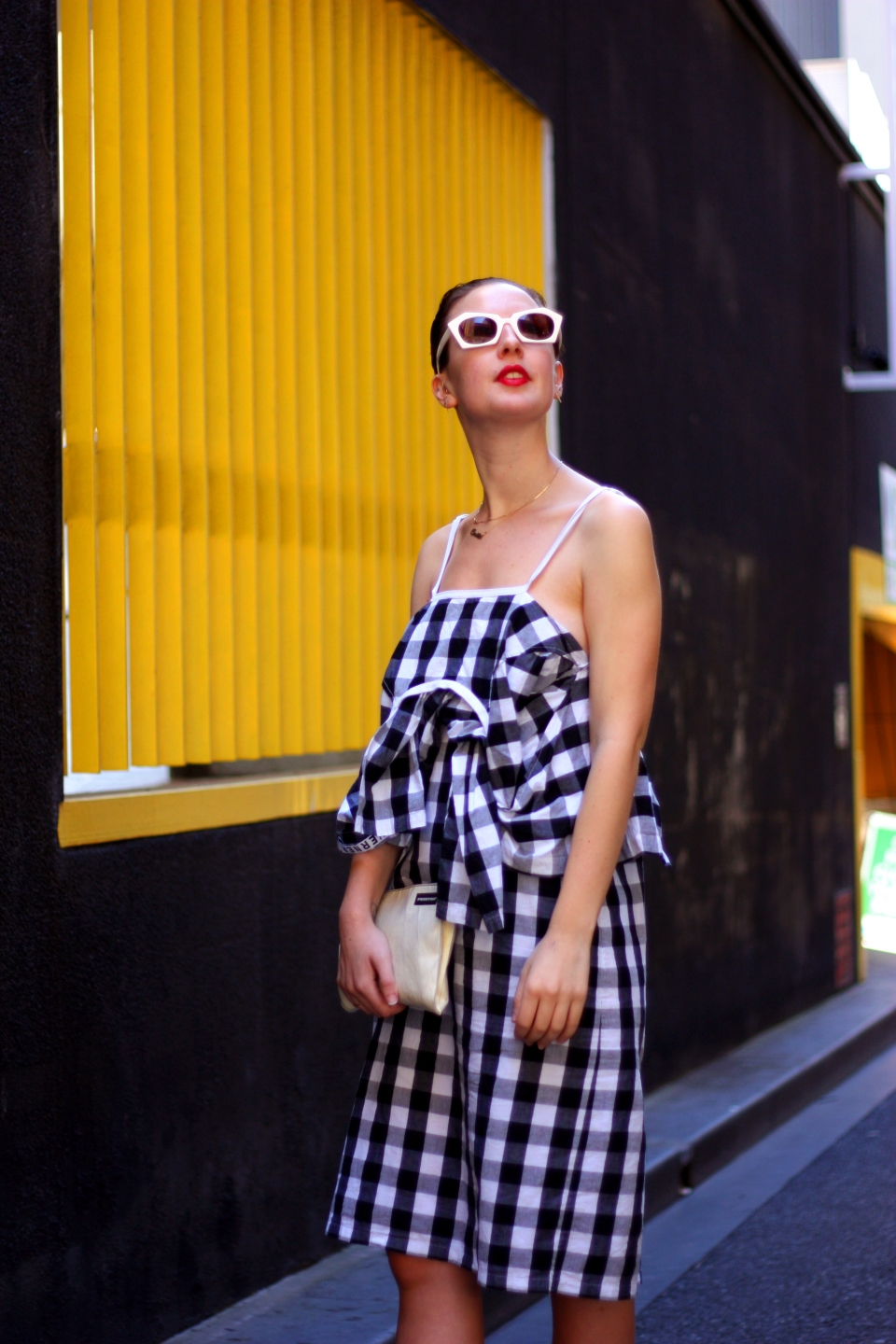 "VIC: Emilie Groegan, designer, spotted in Little Collins St. Photo: Mary Tham. ""I like to wear clothing that is locally made and support designers""."