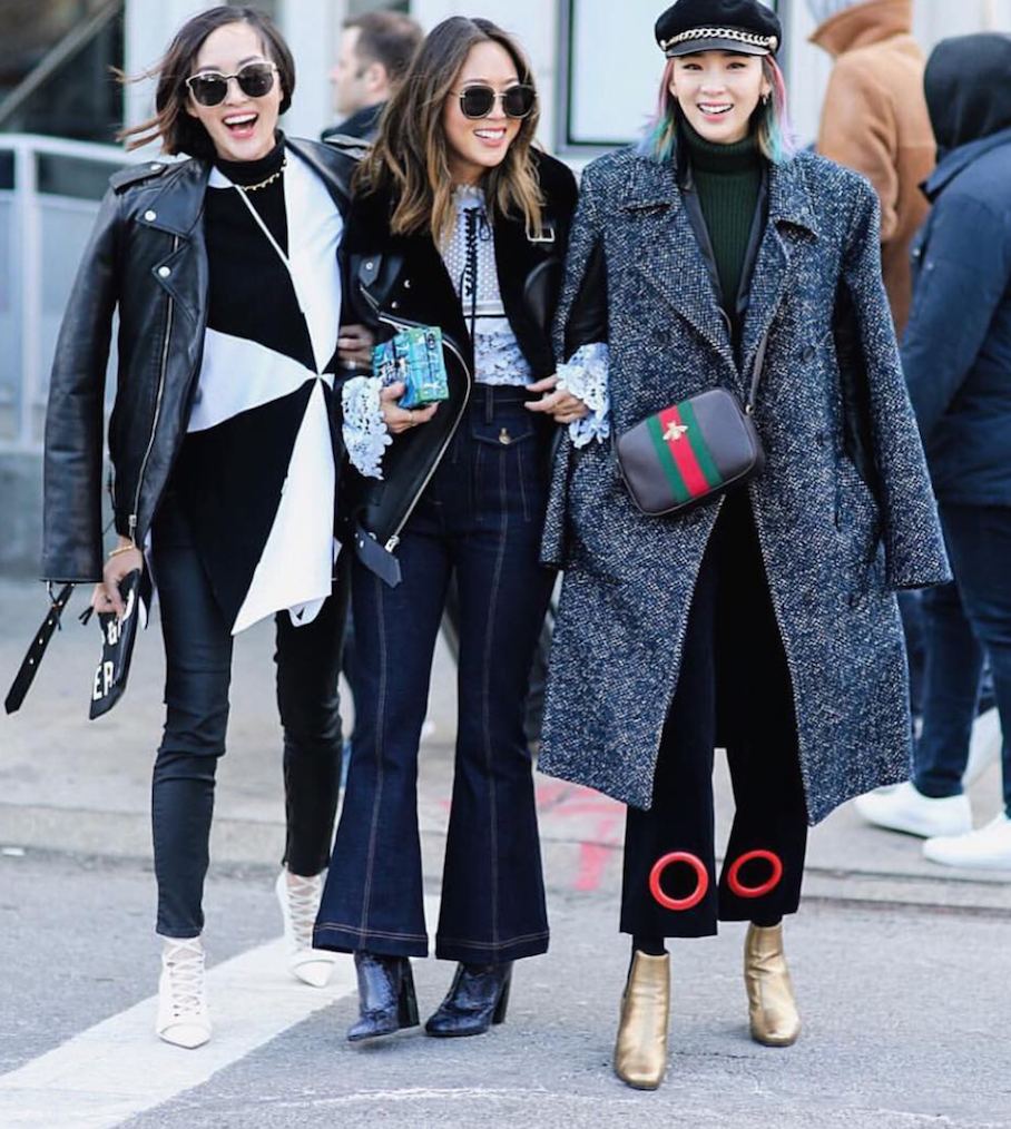 "New York:<a href=""http://instagram.com/songofstyle/""target=""_blank""> L-R: Chriselle Lim, Aimee Song,  Irene Kim</a>"