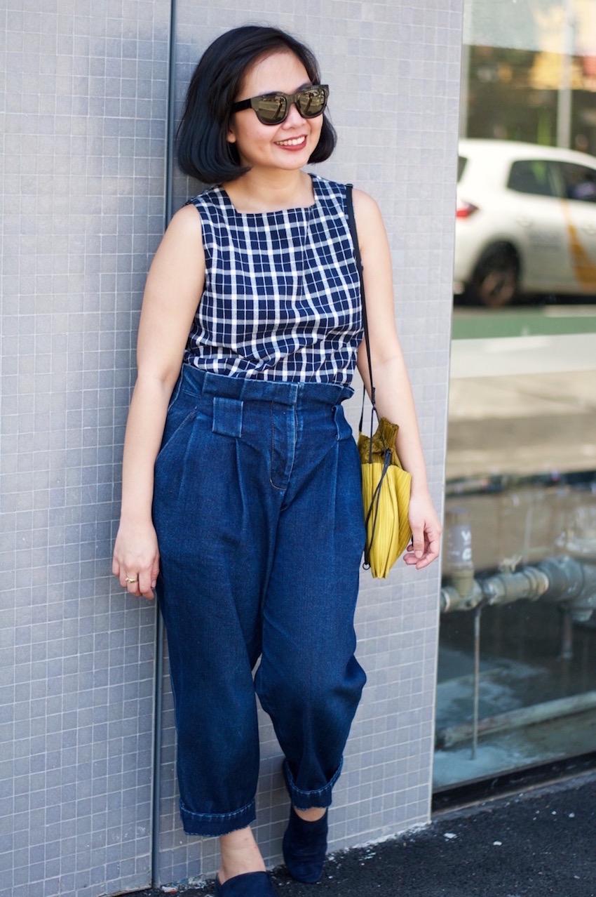 "Melbourne: Verra Jury, Designer, Faraday St, Carlton. ""My bag is by a  Japanese designer."""